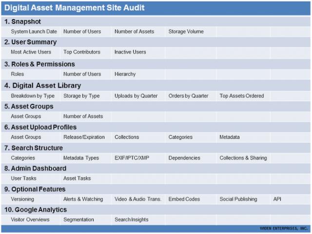 Digital Asset Management Site Audit Table