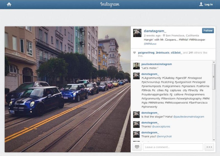 MINI USA captures user generated content from Instagram