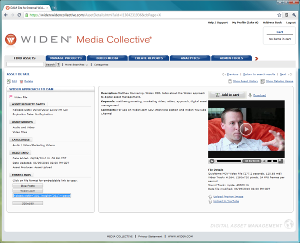 Widen Digital Asset Embed Links Screenshot