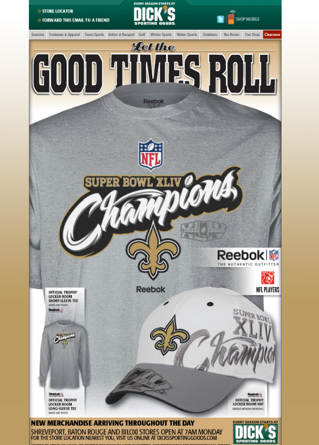 Saints Super Bowl XLIV Champs Gear at Dick's Sporting Goods