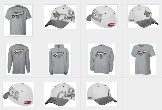 Saints Super Bowl XLIV Champs Gear in the Widen-Powered Image Library