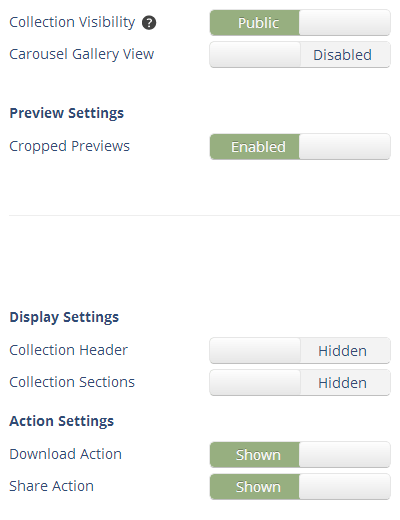 Smartimage Custom Collection Settings