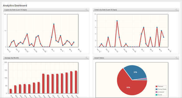 Screenshot of Widen Analytics Dashboard