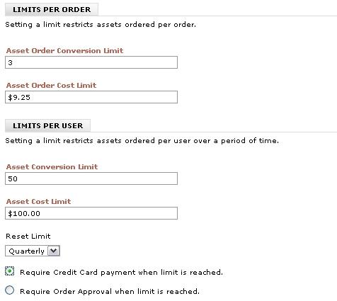 Asset Order Limits