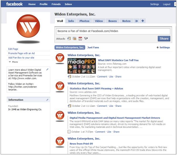 Widen Facebook Fan Page