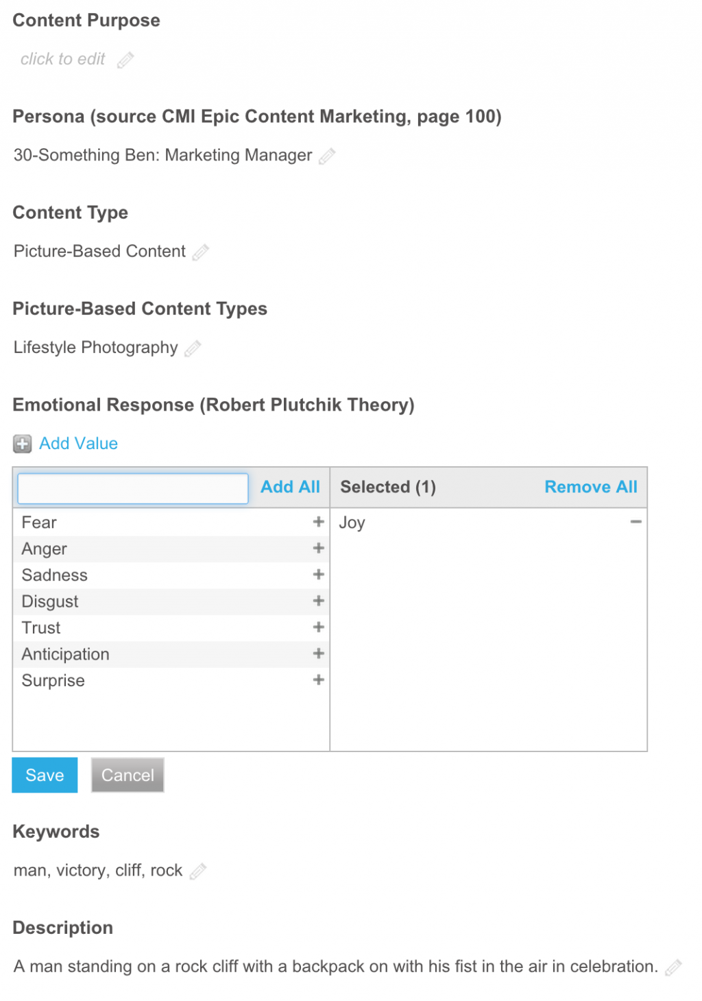 Screenshot of the Widen Media Collective metadata entry module, with joy being selected.