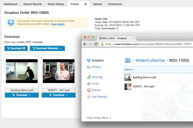 Widen Digital Asset Management integration with Dropbox