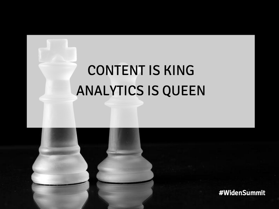 """King and queen chess pieces with overlay text """"Content is King Analytics is Queen"""""""