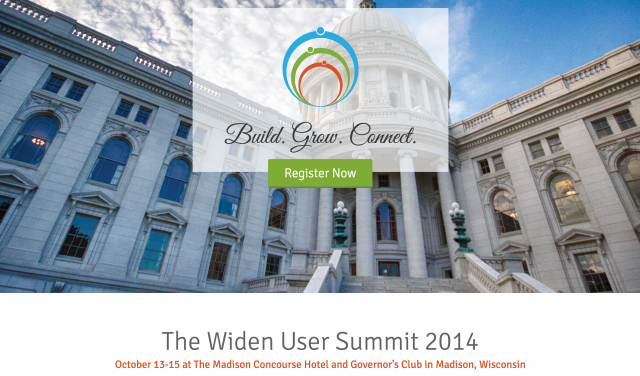 Widen User Summit 2014 logo and image of Madison Wisconsin capital building