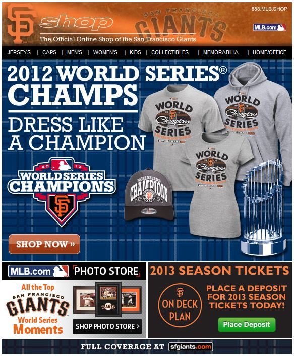 San Francisco Giants World Series apparel email blast
