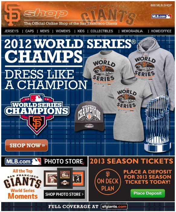 San Francisco Giants World Series apparel email blast