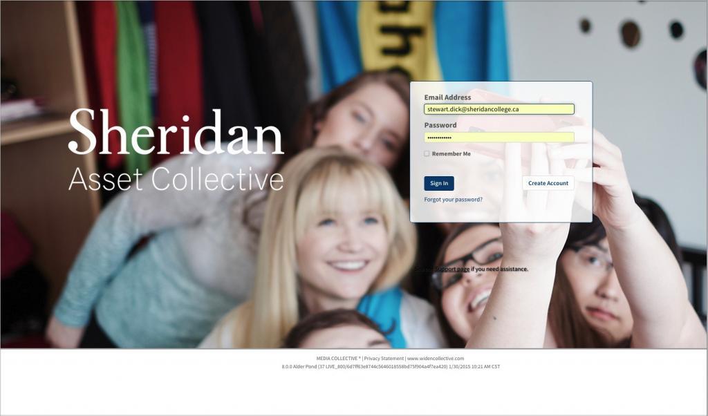 Sheridan College DAM Login Page