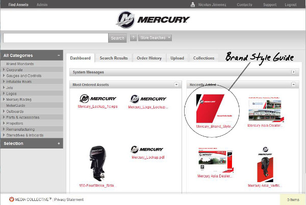 Mercury Marine Screen with elipse to highlight brand style guide