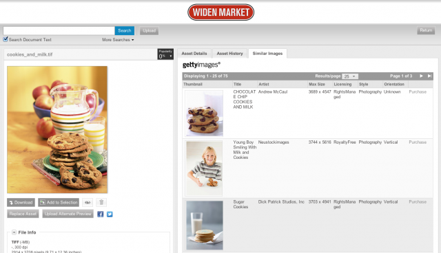 Widen Market Demo Site with Getty Images Prototype