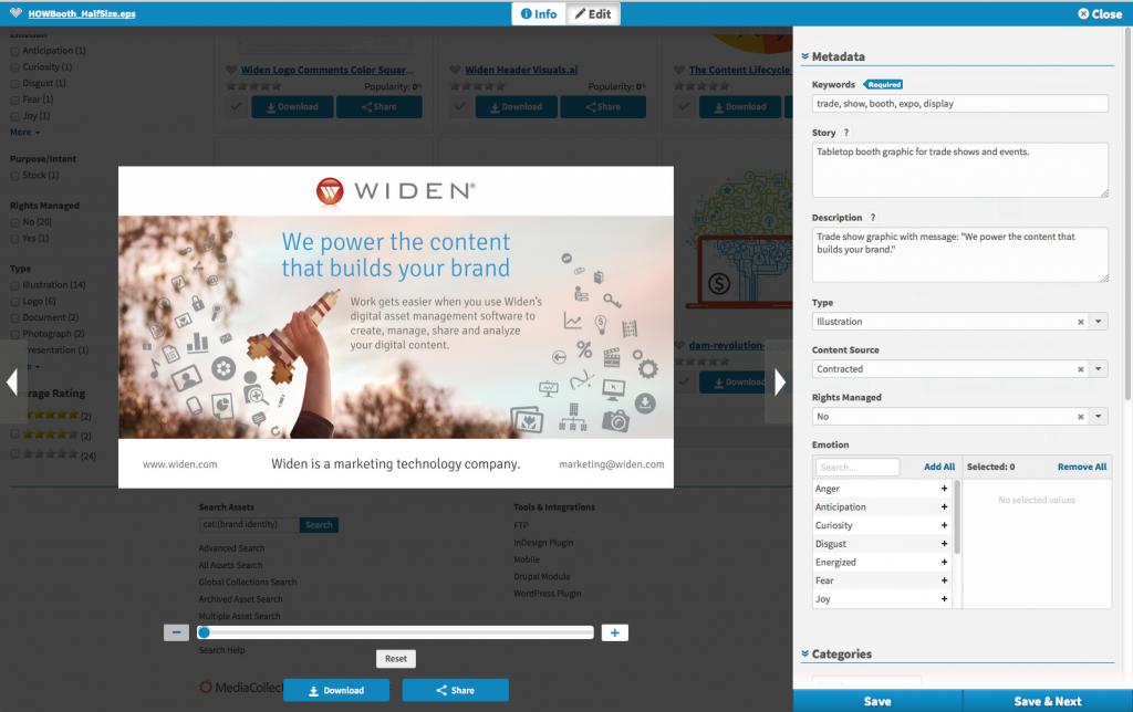 Widen Media Collective Quick View Edit Asset Details