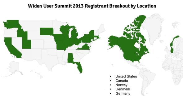 Widen User Summit 2013 Registrant Breakout by Location