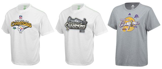 2009 Champion Tees: NFL Super Bowl Champion Pittsburgh Steelers, NHL Stanley Cup Champion Pittsburgh Penguins and NBA Finals Champion Los Angeles Lakers