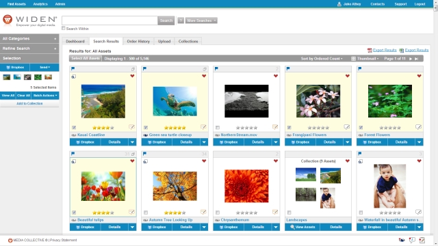 Widen Media Collective Search Results with Dropbox Integration Authorization Active
