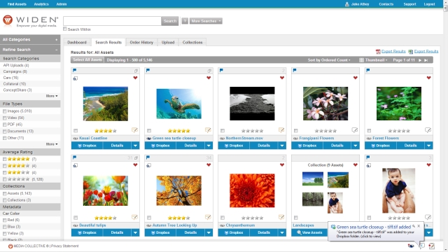 Widen Media Collective version 6.4 with Dropbox Notice