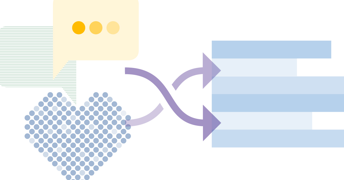 Banner graphic with a pixelated heart, comment bubbles, crossed arrows, and a non-specific bar graph.