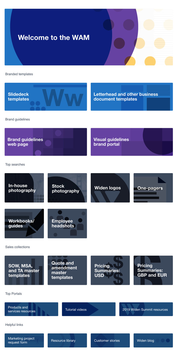 View of the internal Widen Collective Dashboard with individual links for brand guidelines, top searches, sales collections, top portals, and helpful links.