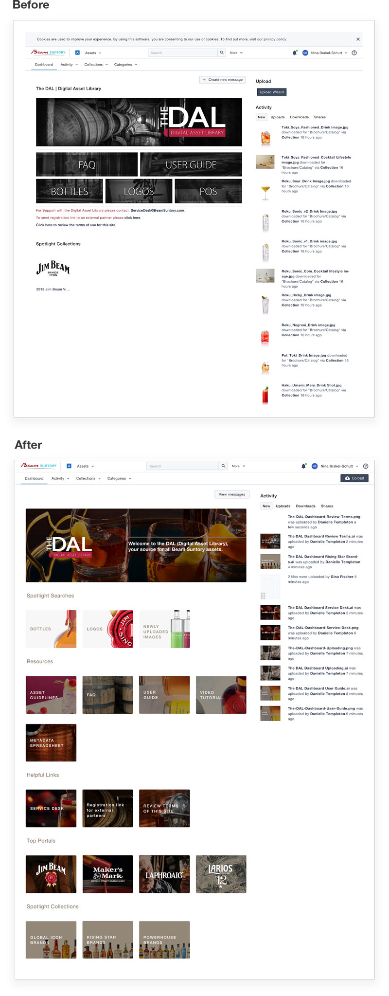 Beam Suntory, The DAL Dashboard Design Before and After