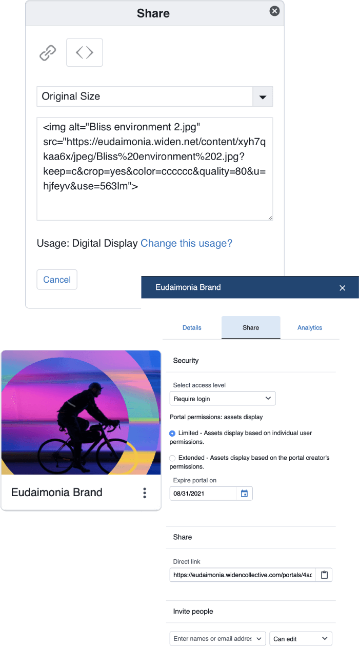 Share links and embed codes screen shots