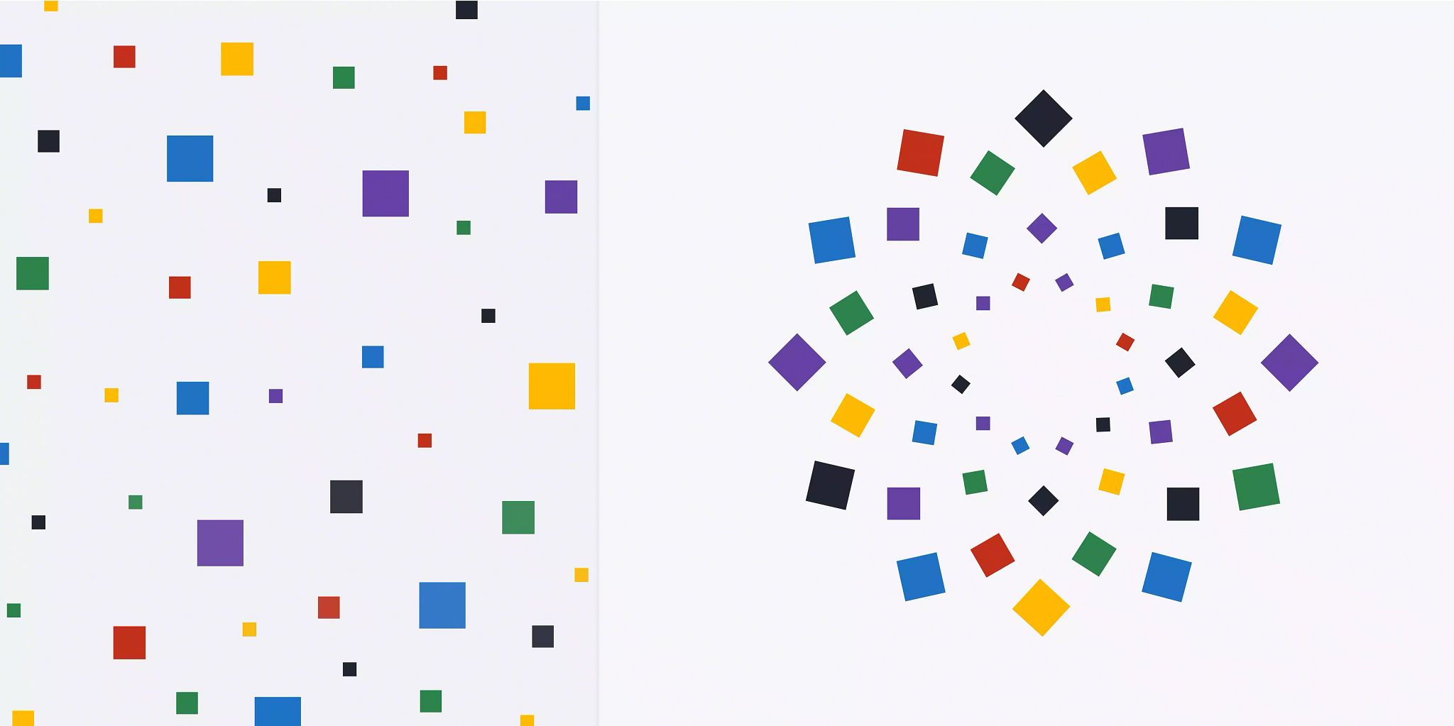 Article header image: Graphic is divided in half down the middle. On the left is solid colored boxes in varying sizes spread throughout the width and height of the half. On the other side, all of the same colored boxes have been arranged to form a starburst or flower pattern in the center of the right half of the illustration.
