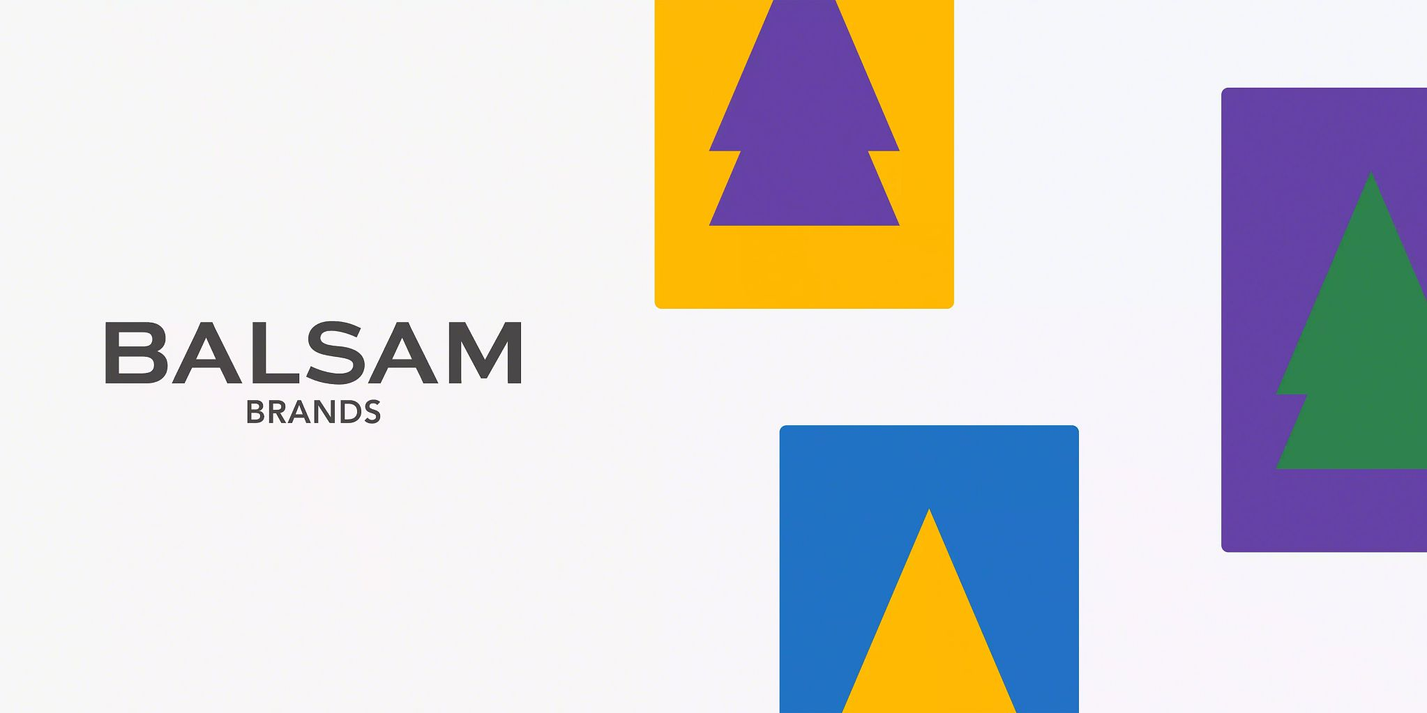 Balsam Brands logo on the left-center. With three graphic representations of pine trees on a square background on the right.