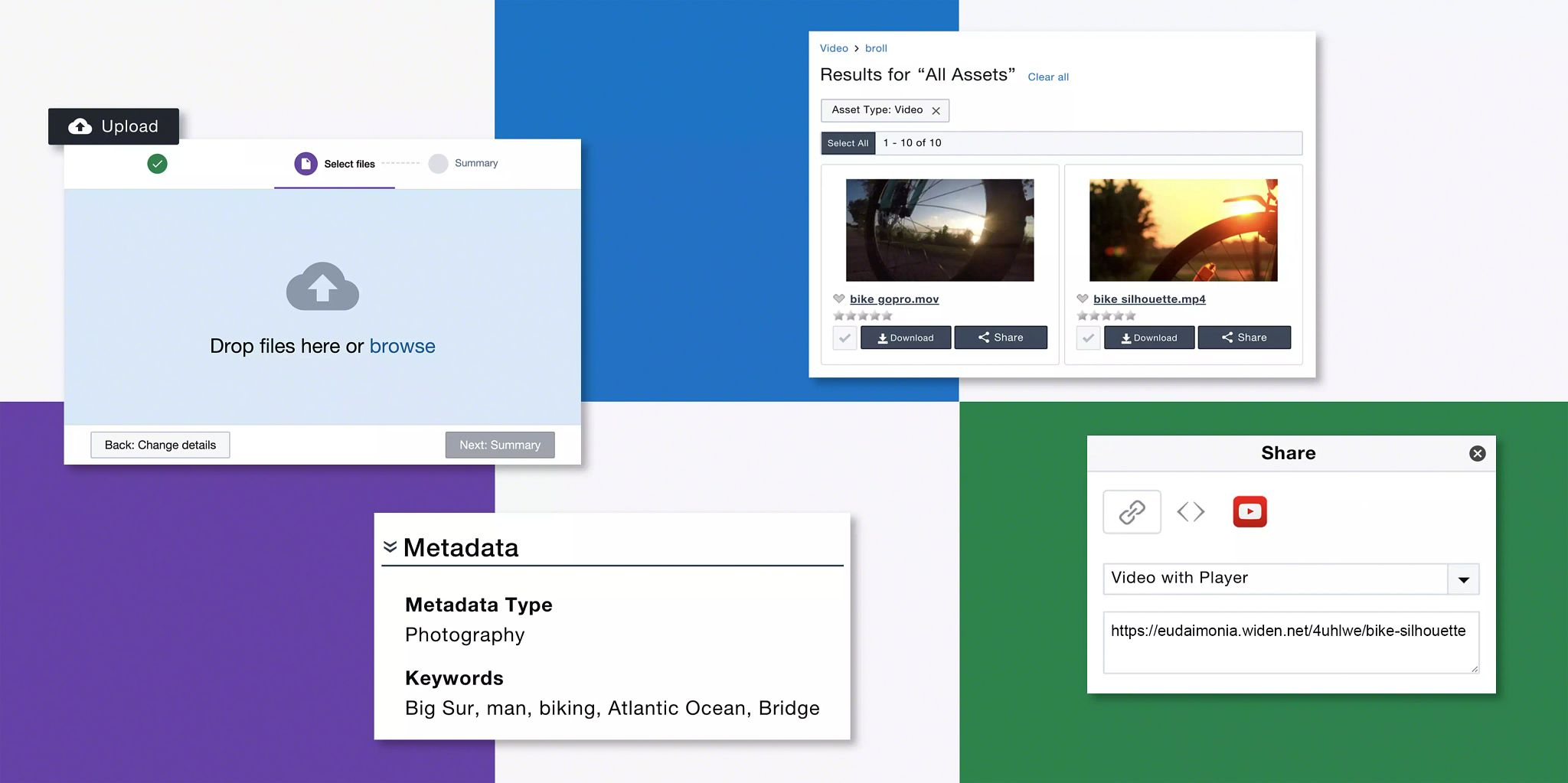 Header image: a grid background with every other space white and the opposite ones a solid color. Four floating screenshots of different features in the Widen Collective are in the foreground.