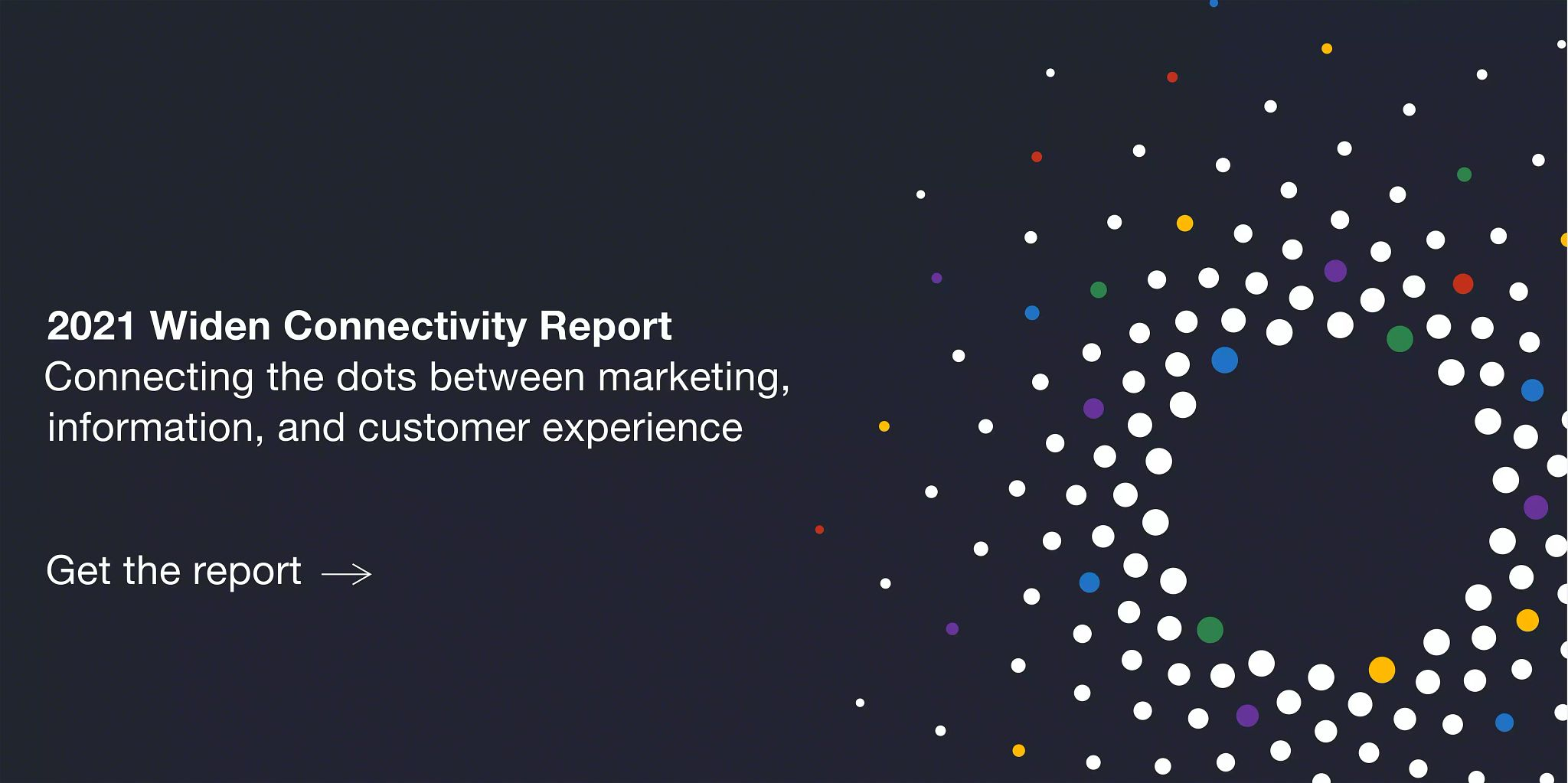 """Graphic with a black background and a starburst of dots on the right. Then the words """"2021 Widen Connectivity Report: Connecting the dots between marketing, information, and customer experience"""" on the left. With a call to action to get the report under that."""