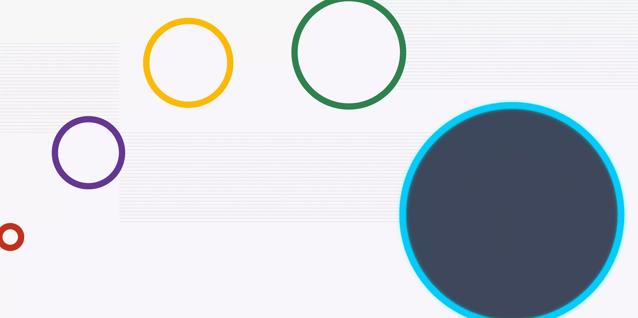 Five open circles outlined in different colors arched from the bottom left to the bottom right and growing in size from left to right. The final and biggest circle on the left is filled in with a dark blue-gray.