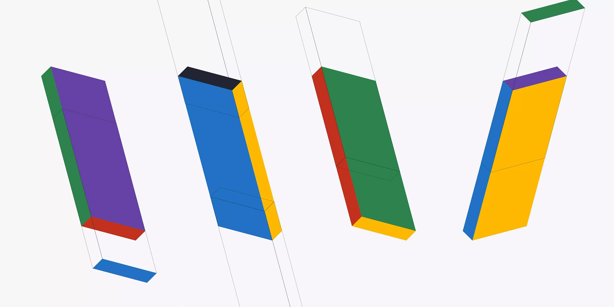 Four colorful rectangle graphics rotated vertically and placed in a row horizontally. Each is designed to look 3D within the 2D graphic.