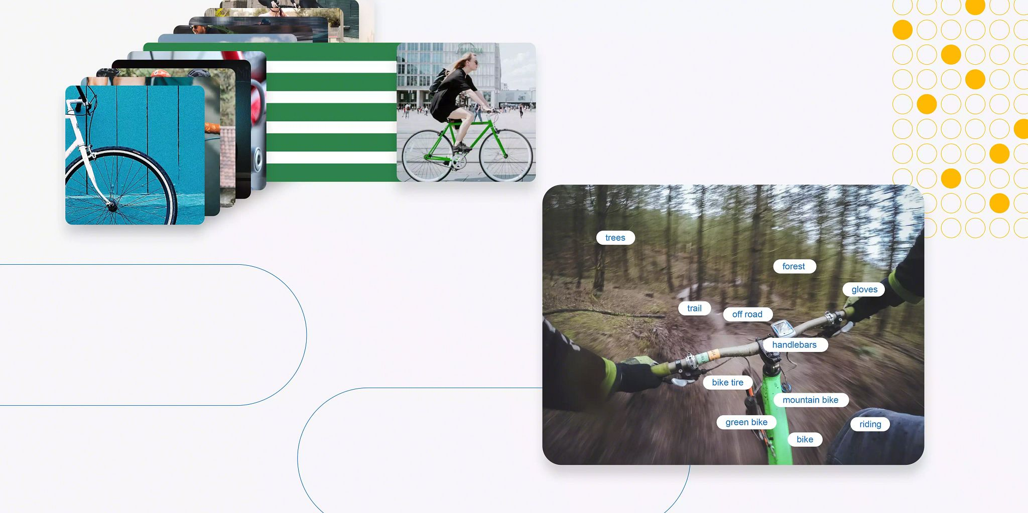 """Blog article header image: Accordion photo """"tiles"""" in the upper left corner with one card """"popping"""" out of line toward the right side of the image. On the right, bottom 2/3rds of the graphic, there is a photograph of hands on bicycle handles and multiple words — or tags — to describe what's happening in the picture."""