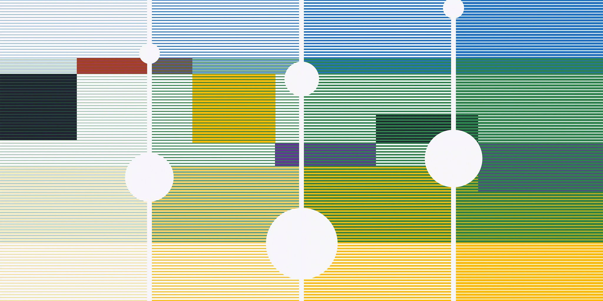 """A colorful graphic broken into four vertical sections with thin horizontal lines going across each section creating a sort of """"blur"""" effect on the background graphics."""