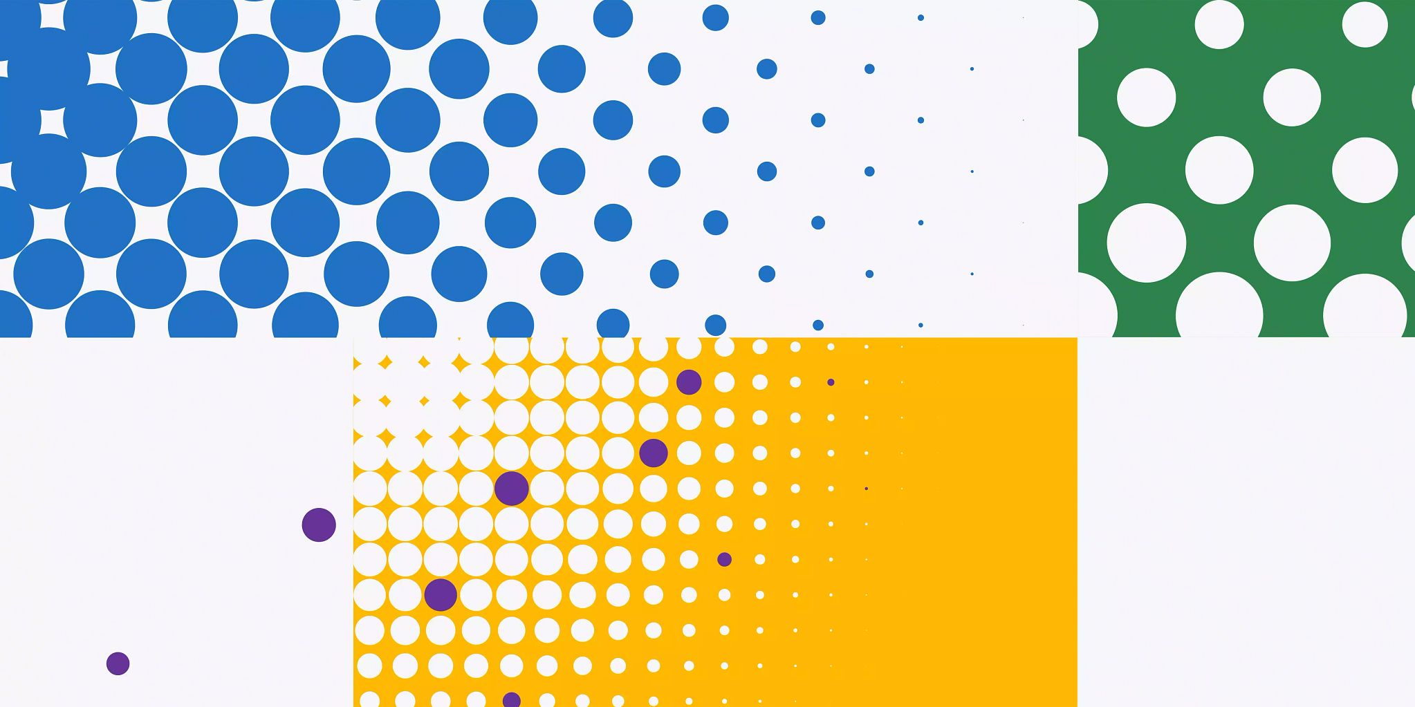 Graphic with five uneven, rectangular and square sections. One with blue circles, one with white circles on a green background, one with white dots on a yellow background, and then purple circles scattered over the white circles on the yellow background.