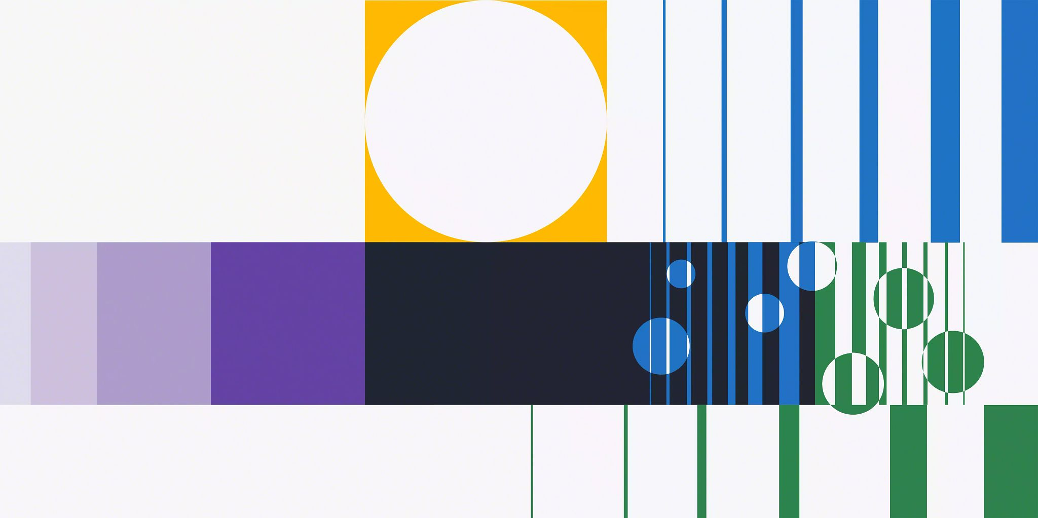 Blog article header image: An illustration with vertical lines in varying colors and widths with circle elements interspersed in the graphic.