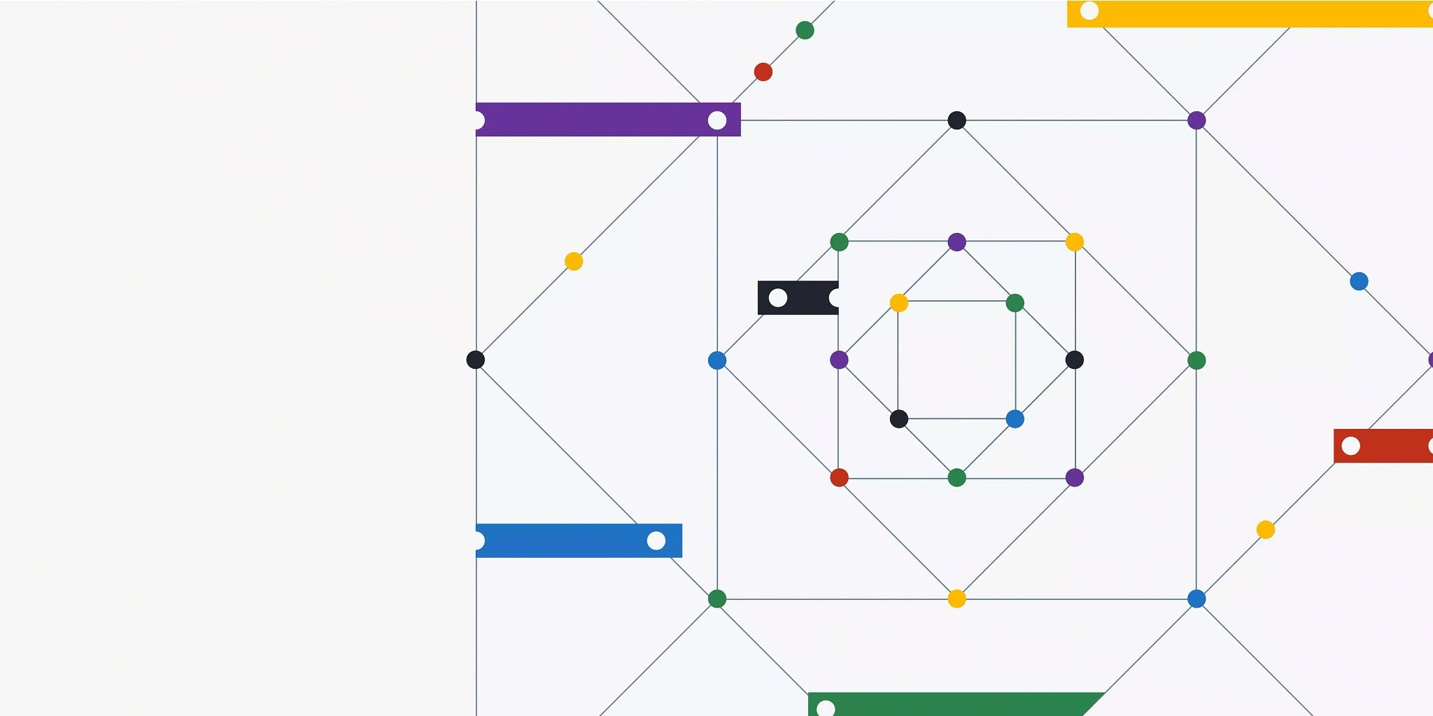 What is PIM (product information management)? Blog header graphic consisting of lines forming squares and diamonds with small dots at the intersections of the shapes' corners.
