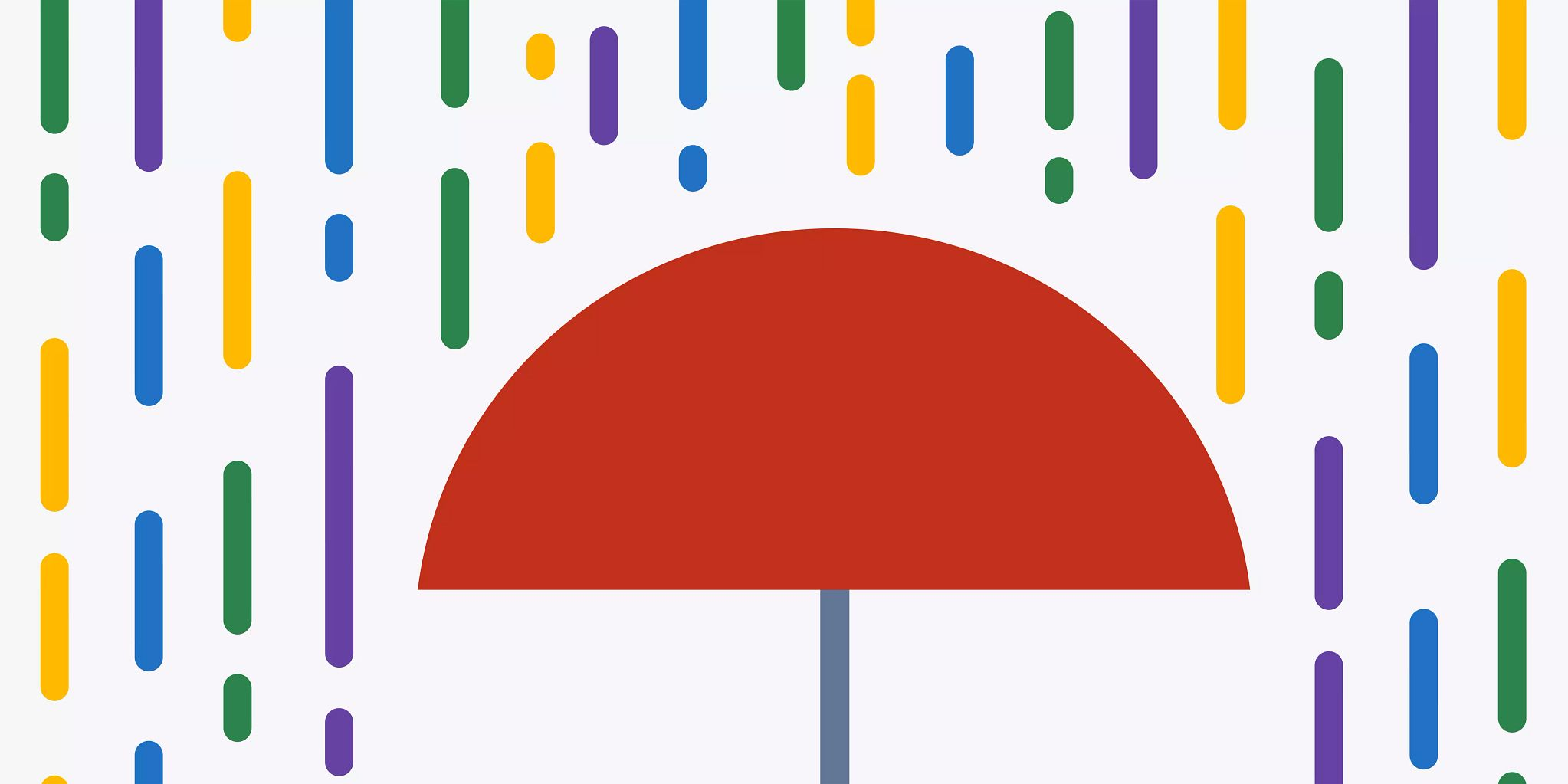 "Illustrated graphic of a red umbrella and with blue, yellow, green, and purple vertical lines ""raining"" on it."