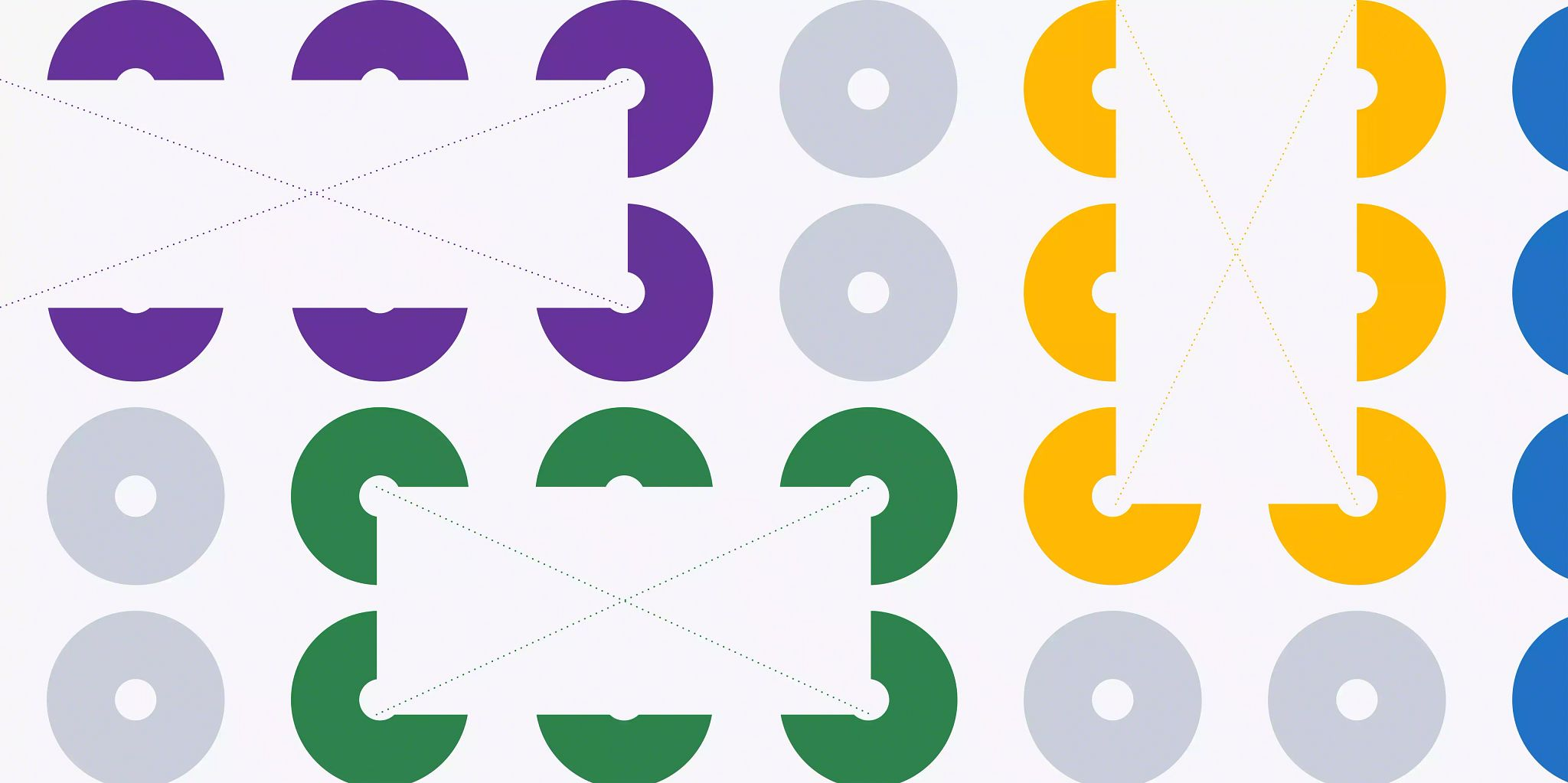 """Six and a half vertical lines of four solid colored circles with a small white circle in the center of each of them. The circles are in groups of six by color with two gray circles separating the groupings. Overlaid on each of the group of colored circles is a white rectangle with an """"X"""" stretching from corner to corner comprised of small dots that are the same color as the circle grouping."""