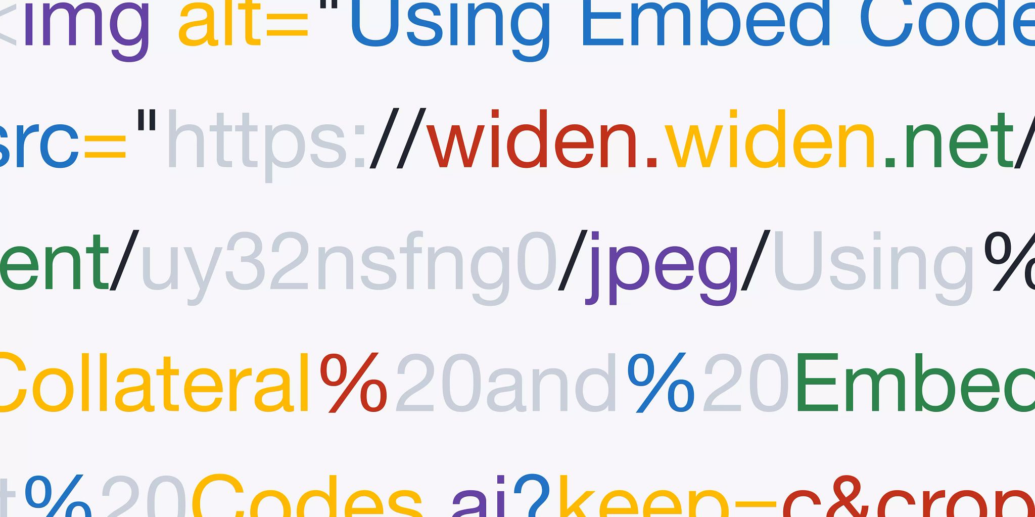 Five lines of colorful copy that is zoomed in on parts of an embed code used on websites.