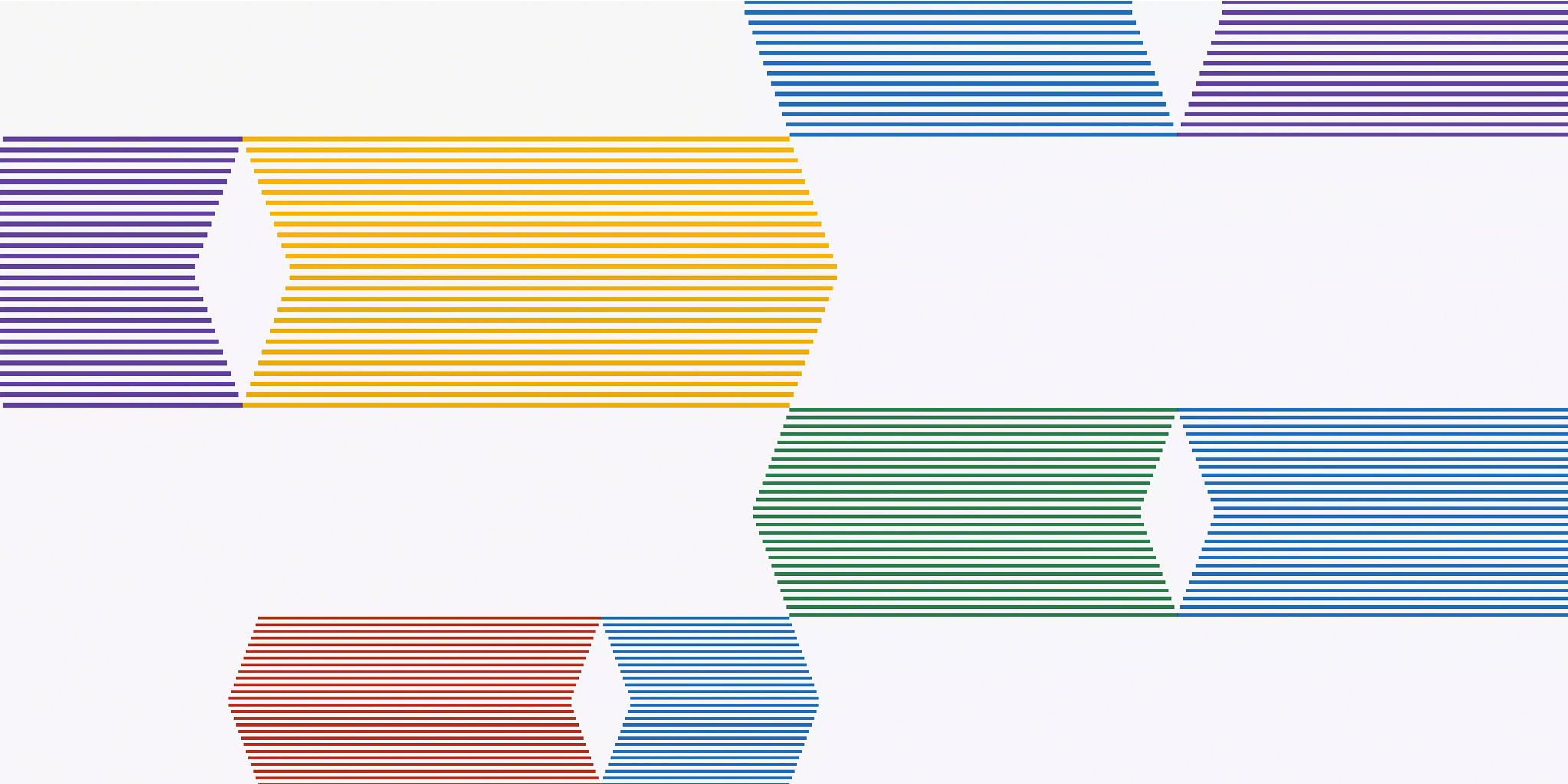 Four wide, colored lines with pointed ends comprised of smaller lines of the same color, converging in the middle of the graphic. The line at the top and bottom of the page are partially out of the frame.