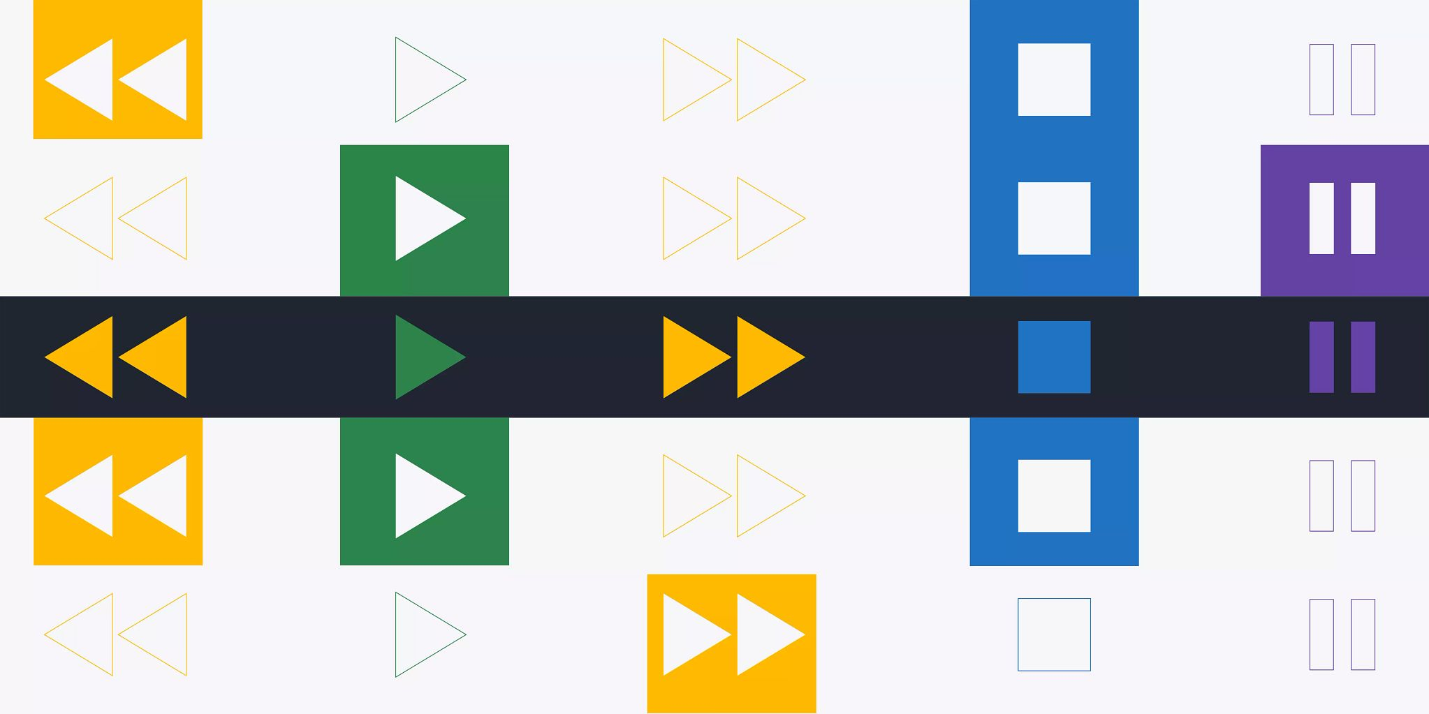 Colorful video graphics representing rewind, play, fast-forward, stop, and pause.