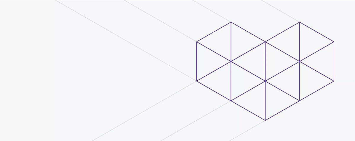 A geometric heart made out of outlined purple triangles. Placed on the right side of the illustration.