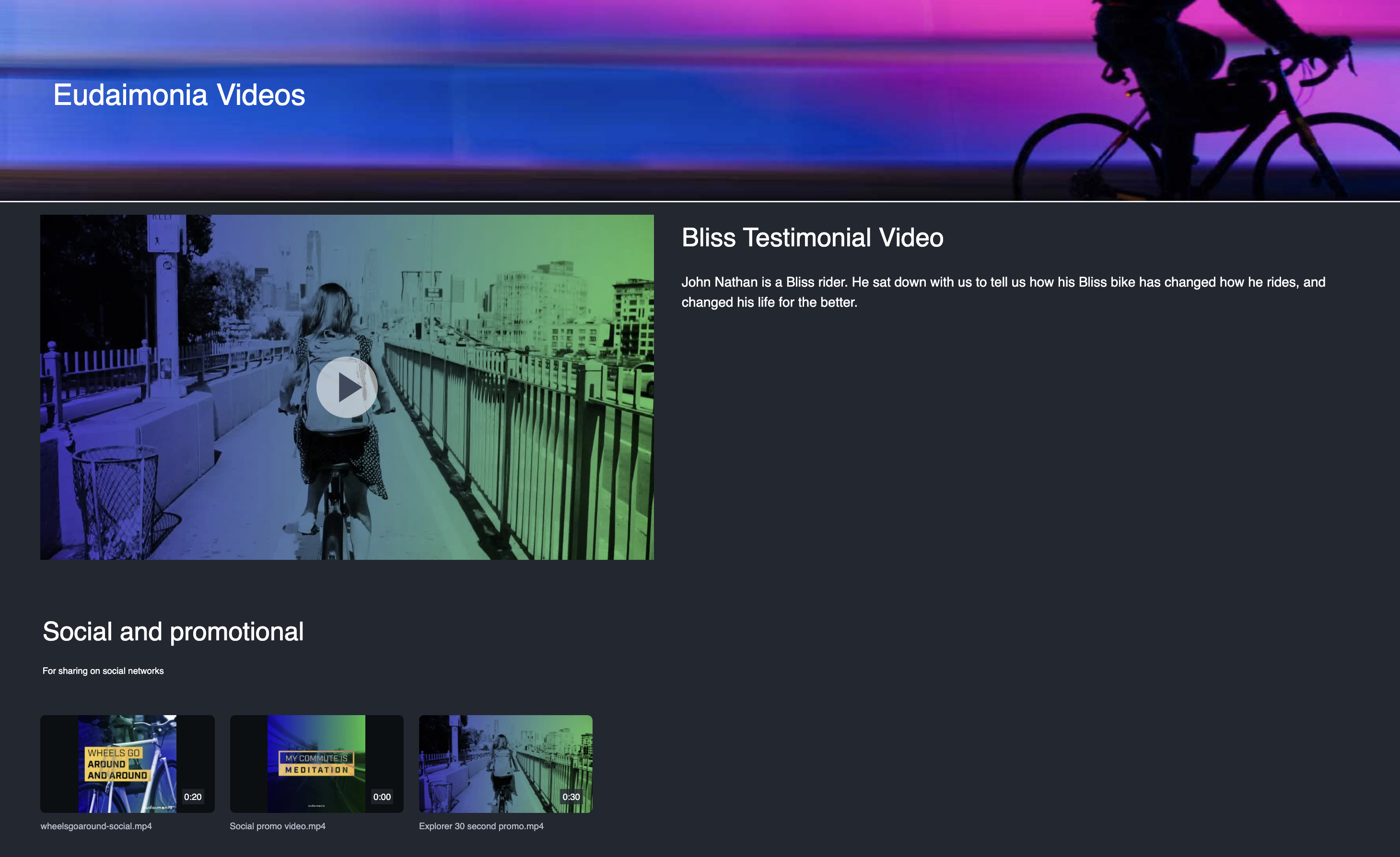 Screenshot of a video in a portal with the mail video featured and the video playlist carousel below it.