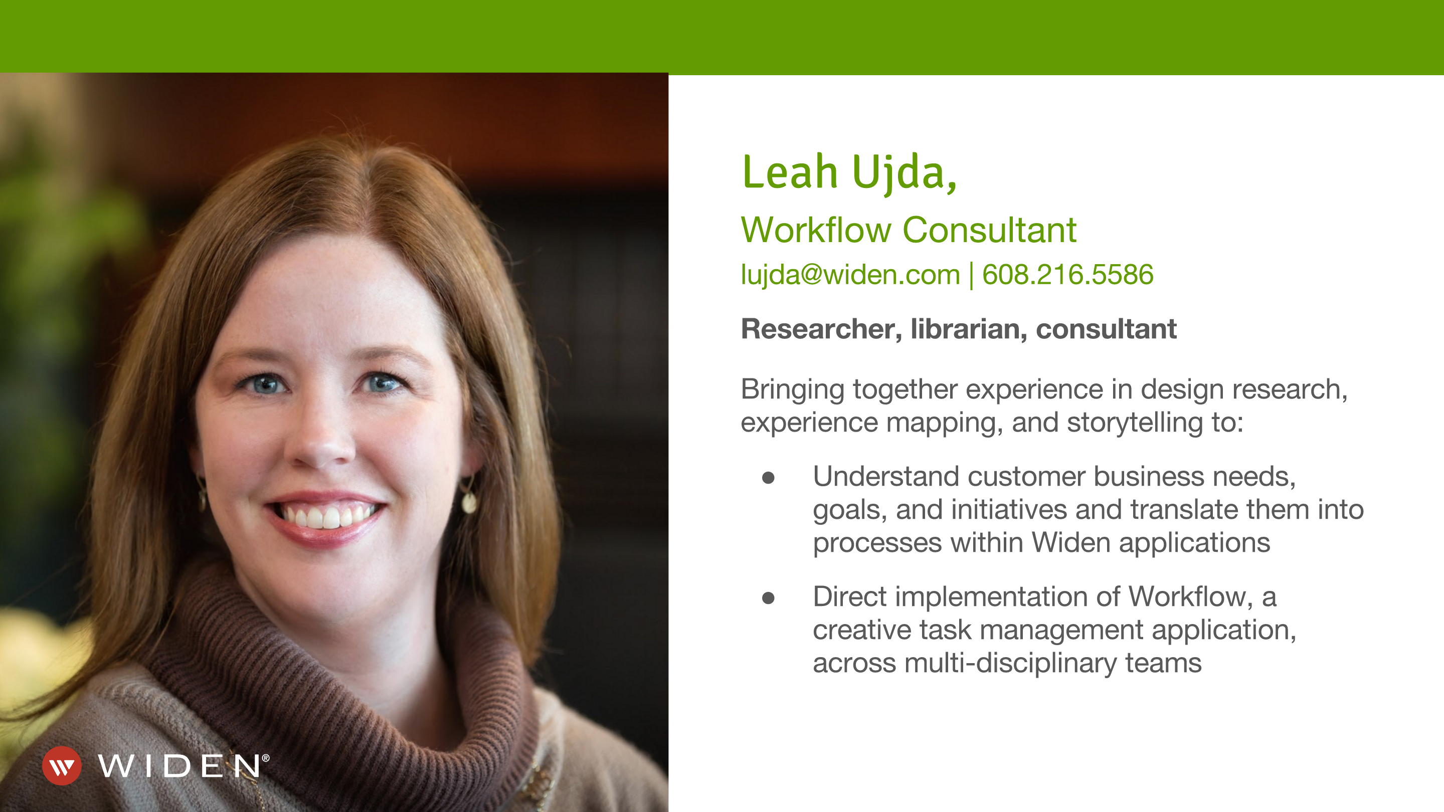 Widen Workflow Consultant Leah