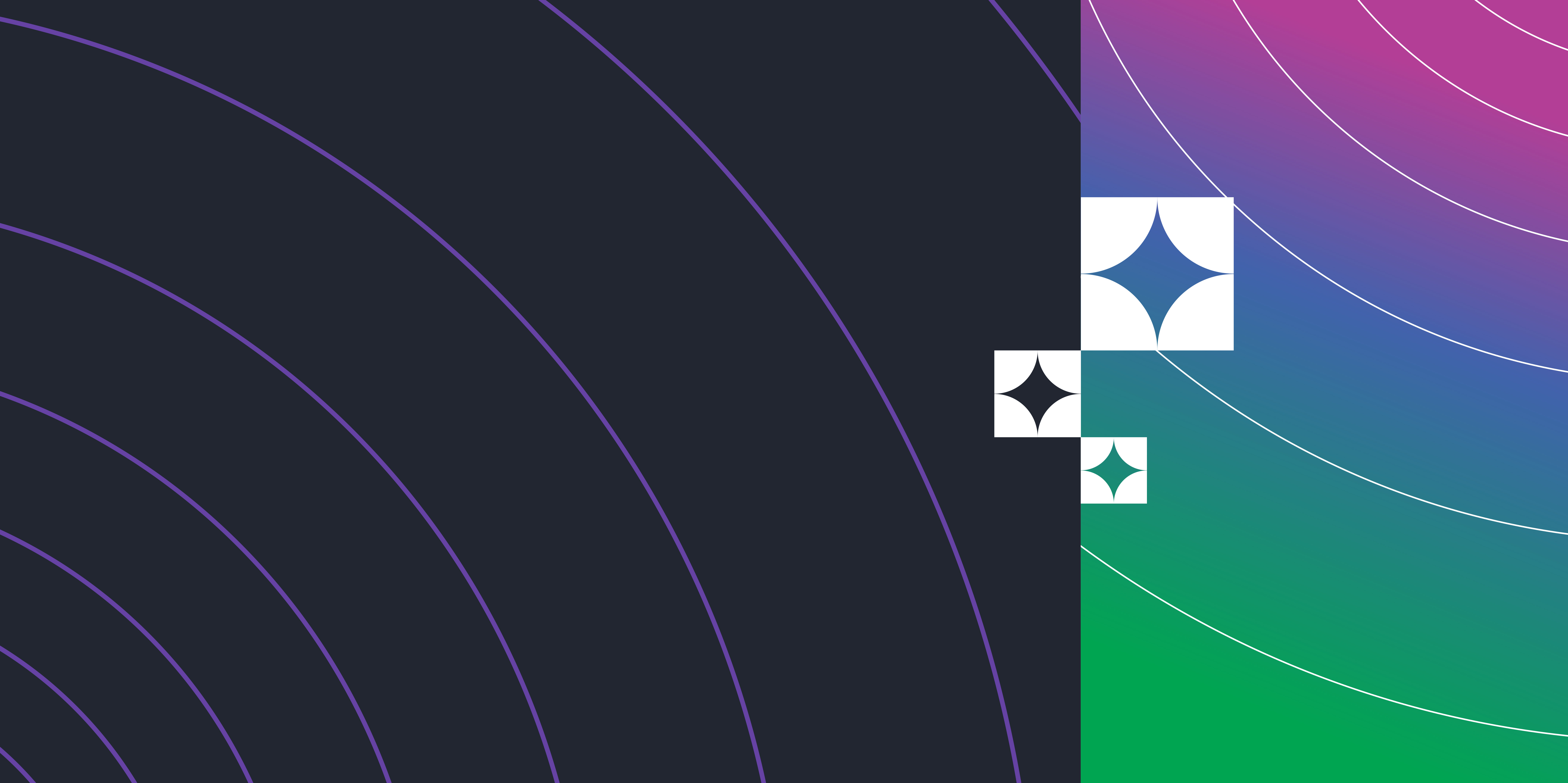 Abstract graphic with three quarters of the image on a black background with curved lines increasing in distance from the bottom left to top right and the right quarter of the image a gradient of green to blue to pink from the bottom left to top right corner.