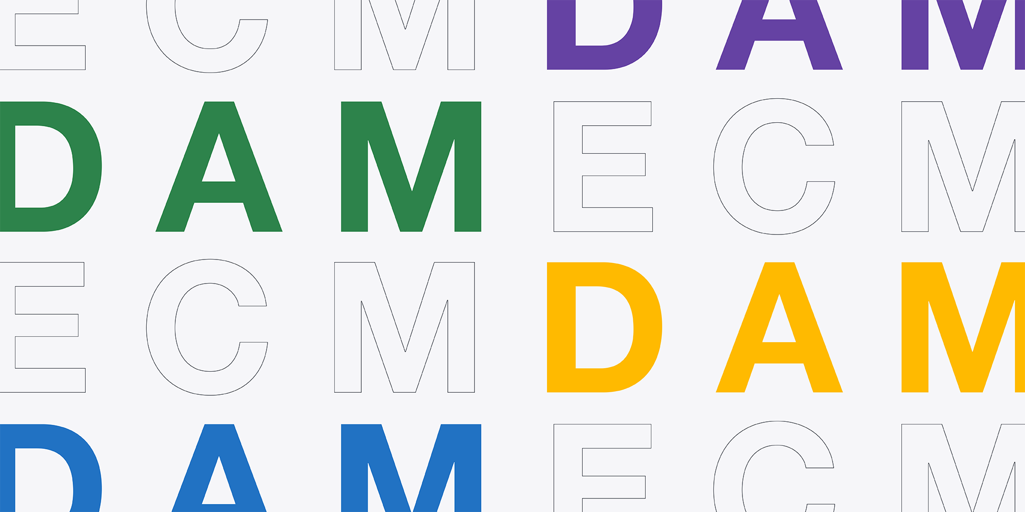 """Block letters spelling """"DAM"""" and """"ECM."""" Mix of colorful, solid block letters and outlines."""