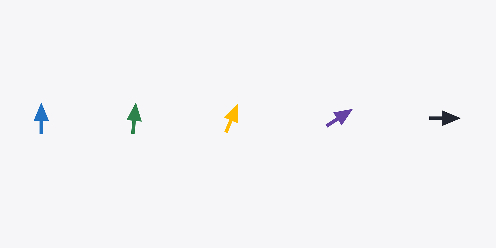 Five colorful arrows in a row. Equally spaced and pointing up, starting from the left. Each arrow tip then pivots slightly to the right until the final arrow is pointing due right.