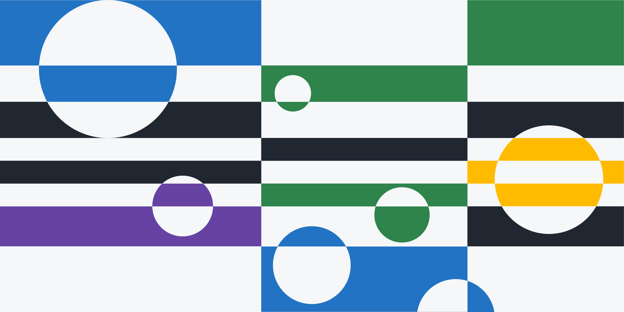 Multicolor graphic broken into three vertical rectangles with smaller, horizontal rectangles dividing each vertically. Circles are overlaid in each section making them appear 3-D.